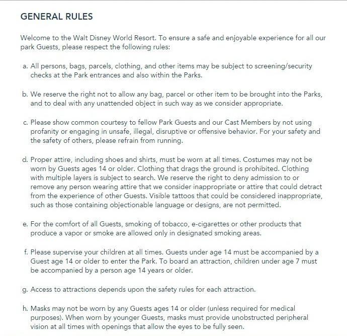 Walt Disney World Park Rules